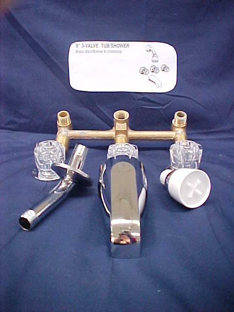 Faucet has three handles  brass underbody  spout  and shower head  Tub  8  inch One PieceAbilene Mobile Homes   Faucets. Three Piece Bathroom Faucet. Home Design Ideas